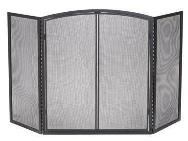 """Panacea Fireplace Screen With Door Deluxe 32 """" H X 52 """" W Bl"""