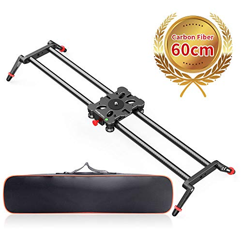 Camera Slider Rail, FOSITAN 23.6 inch/60cm Carbon Fiber Professional Dolly Rail Track Slider Video Stabilizer for Camera DSLR Video Movie Photography Camcorder 17.6lbs Loading