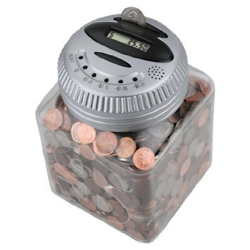 Electronic Talking Piggy Bank: Digital Counting Money Coin Jar with LCD Display (Silver)