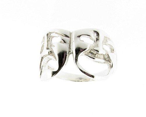 925 plata esterlina de la comedia y máscara de teatro Terrible tragedia - anillo hecho en