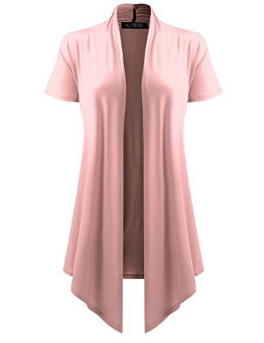 Print Ribbed Cardigan - ALL FOR YOU Women's Soft Drape Cardigan Short Sleeve Dusty Pink Large