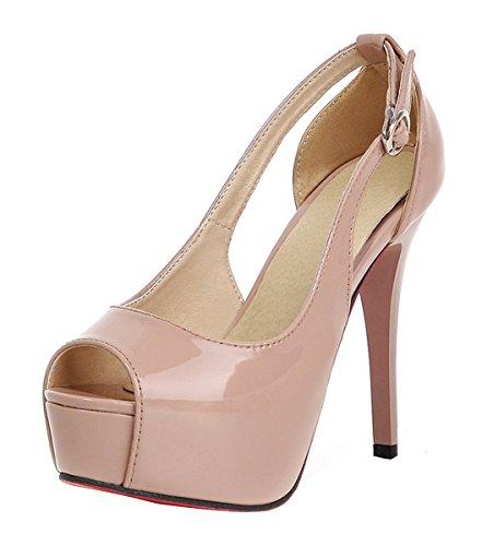 YE Damen Lack High Heels Peeptoe Plateau Stiletto Pumps mit Schnalle Moderne Sandaletten Party Schuhe Beige