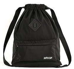 Waterproof Drawstring Sport Bag, Large Lightweight Gym Sackpack Backpack For Men & Women (Black)