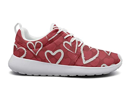 (Gjsonmv Red Hearts Valentine Day mesh Lightweight Shoes for Women Fashion Sports Badminton Sneakers Shoes)