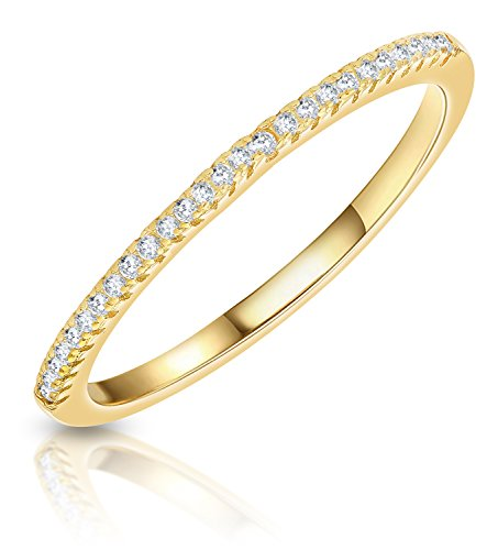 Sterling Silver Cubic Zirconia Half Eternity Band Ring (Yellow, 9)