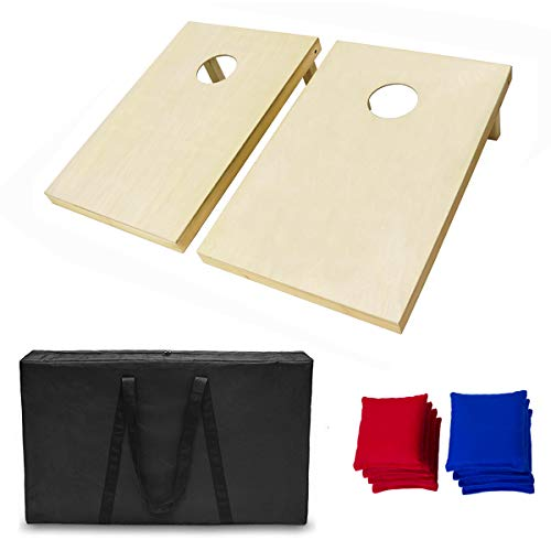 AceLife Solid Wood Premium Cornhole Set with 8 Bean Bags and Carrying -
