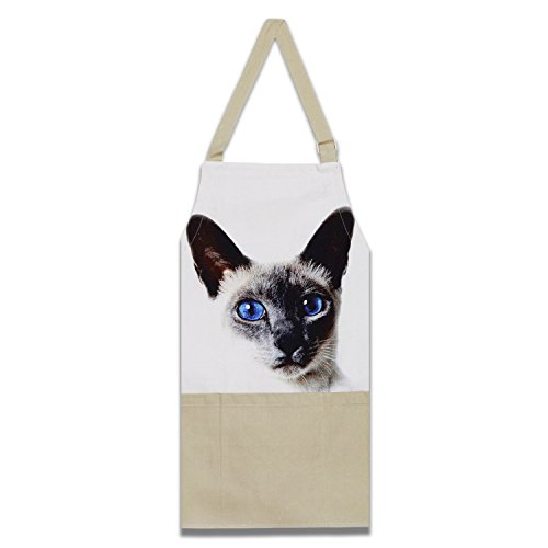 ShalinIndia Digitally Printed Cotton Cooking Apron-Animal Face Kitchen Apron - 27 Inch x 22 Inch,Adjustable Length-100% Cotton Canvas-Pussy Cat -