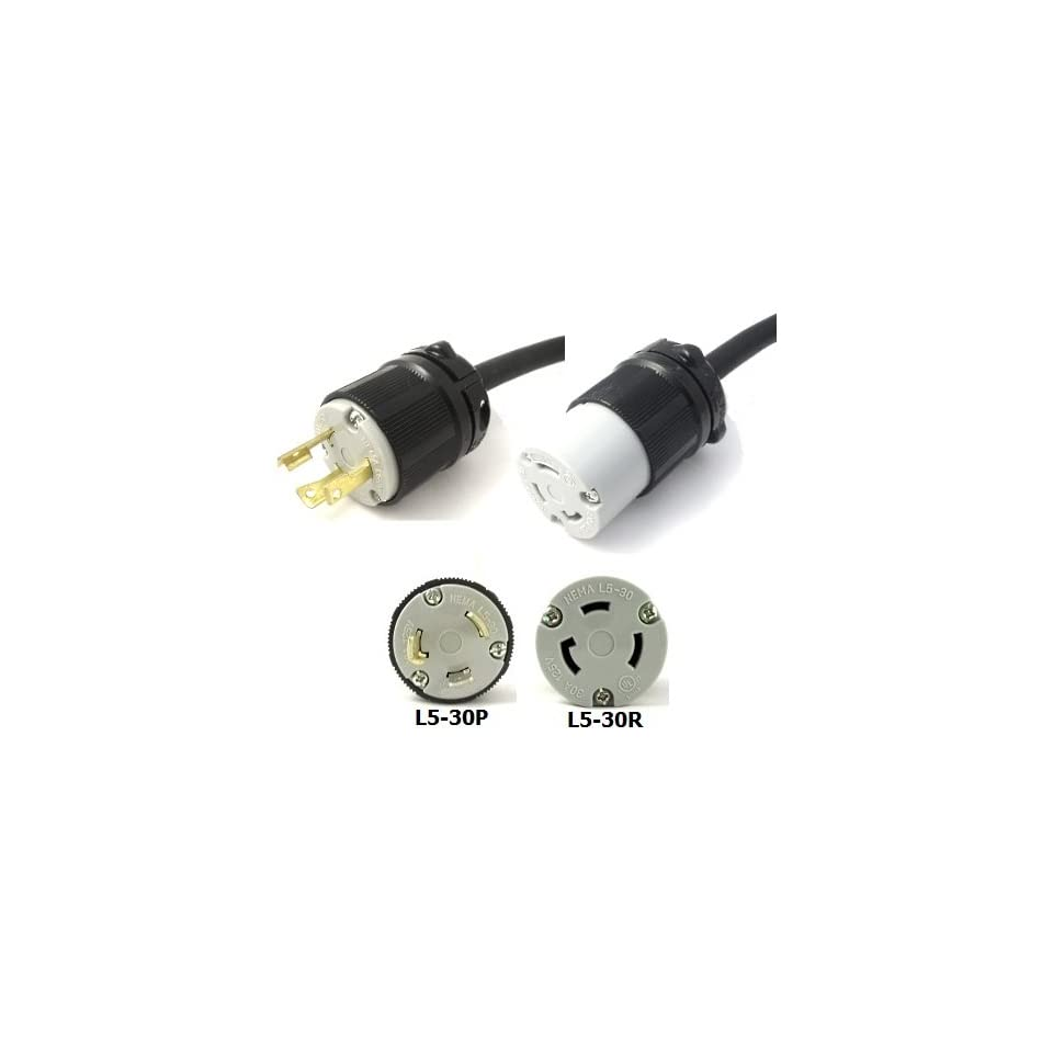 10 Foot L5 30 Plug to L5 30R Connector Extension Power Cord   Rated
