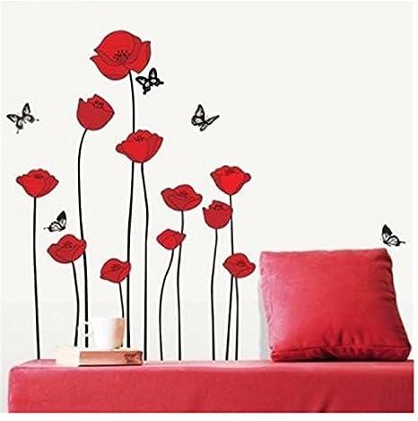 Rama de flores rojas amapolas Flores Tatuajes de pared Pegatinas ...