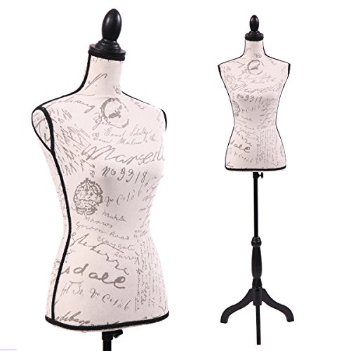 JAXPETY Female Mannequin Torso Dress Form Display W/ Black Tripod Stand Designer Beige (Mannequin Designer)