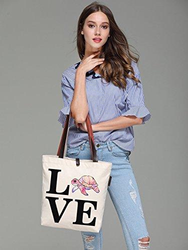 So'each Women's Love Tortoise Letters Graphic Canvas Tote Handbag Shoulder Bag
