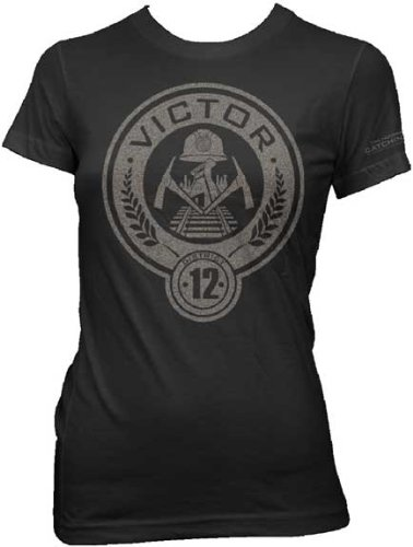 The Hunger Games 2: Catching Fire District 12 Victor Juniors Black T-Shirt   XL