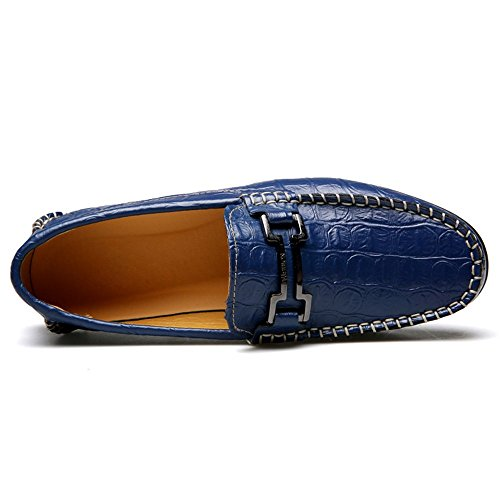 Mocassini In Pelle Uomo Alexis Leroy Slip On Driving Mocassini Casual Scarpe Da Barca Blu