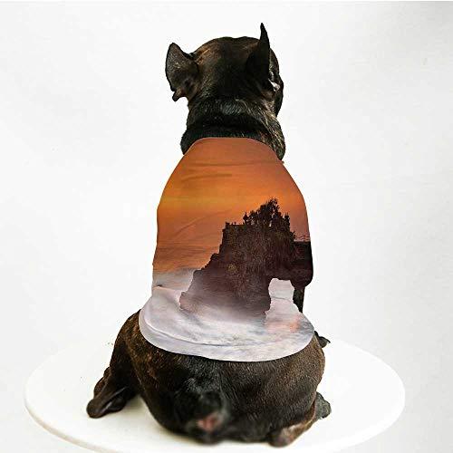 YOLIYANA Balinese Decor Warm Pet Suit,Temple Pura Tanah Lot Bali Indonesia Magical Romantic Sunset Exotic Holidays for Pet Dogs,S ()