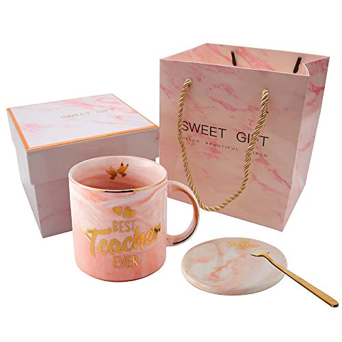 Best Teacher Ever Pink Marble Ceramic Coffee Mug (11.5oz) and Coasters Set - Teacher Gifts - Teacher Appreciation Gifts - Gifts for Teacher - Birthday Gifts Ideas for Teacher