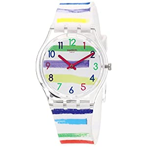Swatch Women's Quartz Watch with Silicone Strap, White, 17 (Model: GE254)