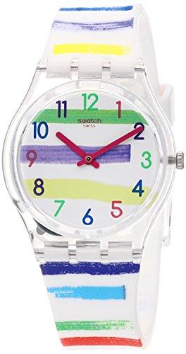Swatch Women's Quartz Watch with Silicone Strap, White, 17 (Model: GE254)