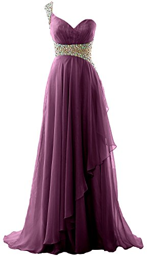 2018 Evening MACloth Eggplant One Elegant Formal Prom Long Gown Chiffon Shoulder Dress Pqz0Cqwgr