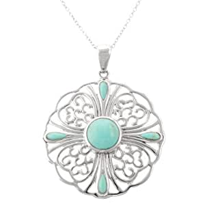 Sterling Silver Turquoise Flower Pendant Necklace , 18""