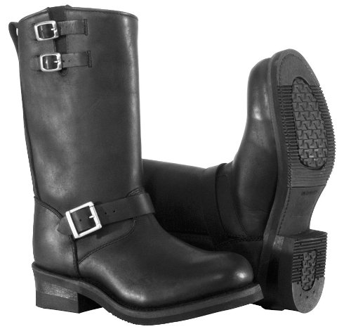 River Road Twin Buckle Engineer Boots, Size: 8, Distinct Name: Black, Gender: Mens/Unisex, Primary Color: Black, - River Engineer Boots Road