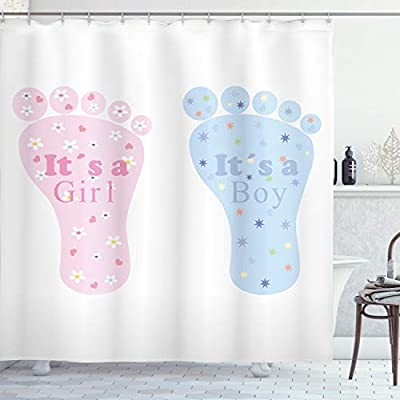 Abakuhaus Gender Reveal Shower Curtain Baby Footprints And Floral Blossoms Heart Stars Surprise Cloth Fabric Bathroom Decor Set With Hooks 78 Inches Pale Blue Pink