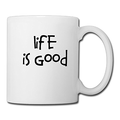 Cool Life Is Good Ceramic Coffee Mug, Tea Cup | Best Gift For Men, Women And Kids - 13.5 Oz, White