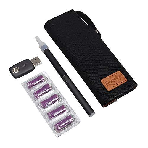 SHIODOKI Waxed Canvas Vape Pen Accessories Kit Vitamin Vape Bag Aromatherapy Inhaler Pouch Holder, Secure Fit, Cord Storage, G Pen Soft Travel Bag (Black)