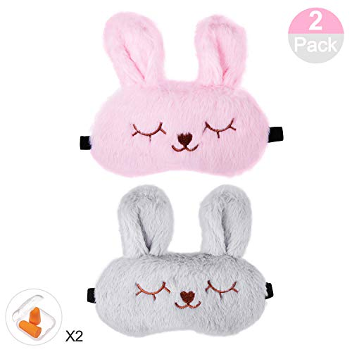 Keemanman Cute Sleep Eye Mask with Gel Pad and Earplugs, Super Soft Breathable Cool & Warm Therapy Sleeping Mask for Women, Men and Kids(2 Pack) (Pink+Gray)
