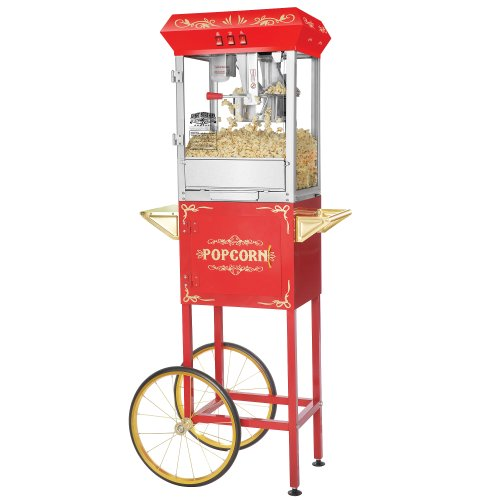 Red 8 Ounce Foundation Popcorn Machine and Cart