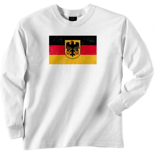 Germany Vintage Coat of Arms Longsleeve Tee (White) Large [P*]