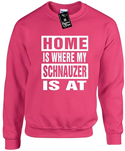 (Unisex Funny Crewneck Sz M (Home is Where My Schnauzer is at (Dog) Sweatshirt)
