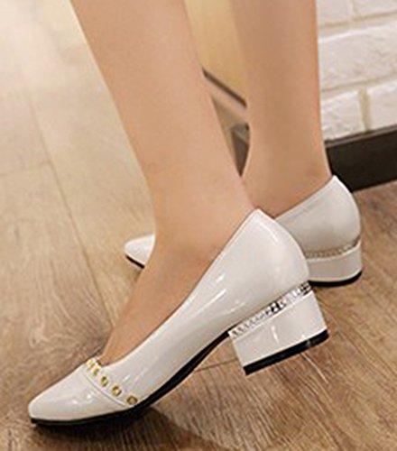 Idifu Mujeres Elegant Closed Pointed Toe Slip En Las Bombas Low Top Zapatos With Heels White