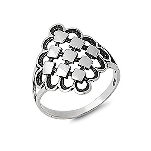 Abstract Design Ring - Sterling Silver Polished Abstract Square Design Ring - size 8