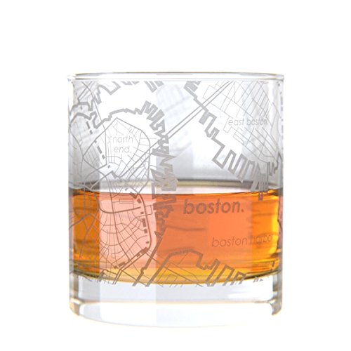 (Uncommon Green Boston Map Rocks Etched Whiskey Glass)