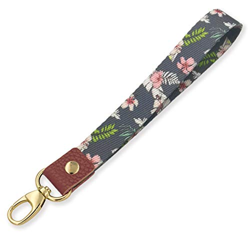 SENLLY Fashion Floral Hand Wrist Lanyard Premium Quality Wristlet Strap with Metal Clasp and Genuine Leather, for Key Chain, Cell Mobile Phone, Camera, Charms, Lightweight Items etc