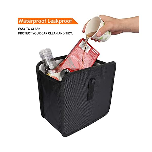 41wPcJMHzHS PowerTiger Auto Mülleimer, KFZ Abfalleimer Wasserdicht Abfallbehälter Auslaufsicher Autositztasche für Müll, Schwarz 6…