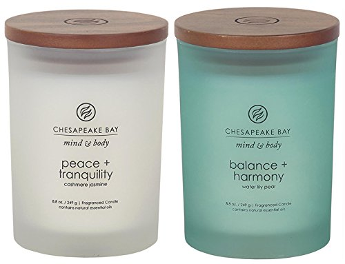 (Chesapeake Bay Candle Scented Candles, Peace + Tranquility & Balance + Harmony, Medium (2-Pack) )