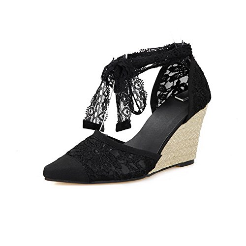 AmoonyFashion Womens Satin Solid Lace-up Pointed-Toe High-Heels Sandals Black