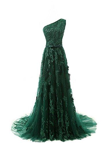 Un Hombro Noche Largo Vestido de Novia Encaje de Oscuro Vestido A línea JAEDEN Verde Vestido Fiesta de qwtYO7OU