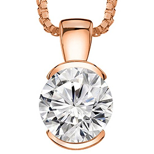 0.3 1/3 Carat 14K Rose Gold Round Diamond Solitaire Pendant Necklace Half Bezel F-G Color SI2-I1 Clarity
