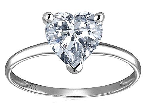 (Star K Genuine White Topaz Heart Shape 8mm Solitaire Engagement Ring 14 kt White Gold Size 8)