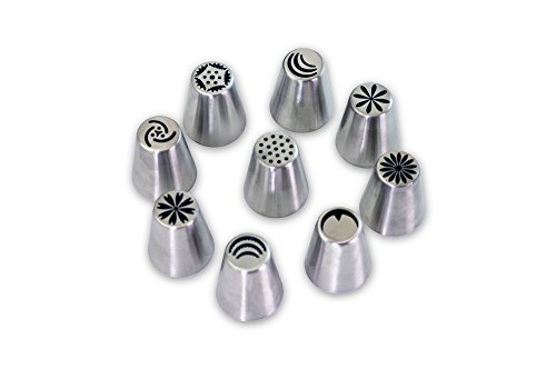 New Russian Piping Tips - Piping Nozzles Cake Decorating - Flower Icing Tips – 9 Piece Set – Large Size – By Anmig Kitchen