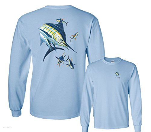 Fair Game Blue Marlin and 4 Yellowfin Tuna Fishing Long Sleeve T-Shirt-Light Blue-Youth ()