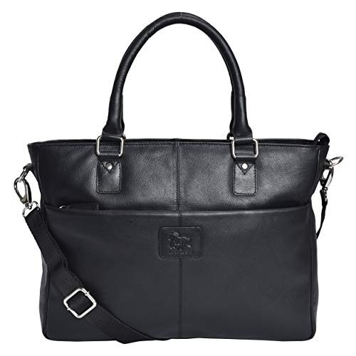 Leather Laptop Messenger Bag for Women - Premium Office Briefcase 15