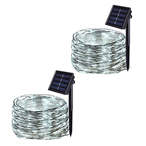 JMEXSUSS 2 Pack 8 Modes 100 LED 32.8ft Solar Powered Waterproof Fairy String Copper Wire Lights for Christmas, Bedroom, Patio, Wedding, Party, (White)