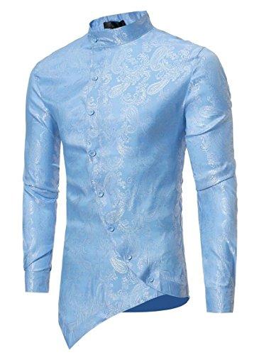 M&S&W Mens Long Sleeve Fashion Irregular Hem Asymmetric Button Down Slim Shirt Light Blue (Asymmetric Button)