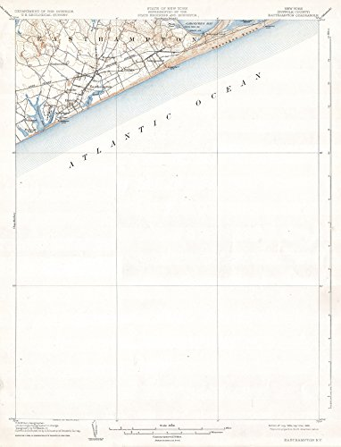 Long Island New York Antique - Art Oyster U.S.G.S. Map of Easthampton, Long Island, New York, 1904-42