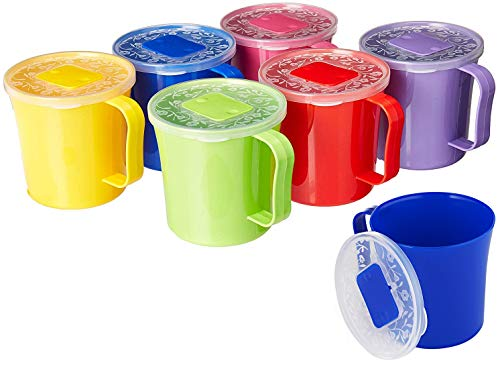 Zilpoo 6 Pack - Soup Mug with Vented Lid and Handle 20 Ounce | Plastic Microwaveable Oatmeal Cereal Cup with Cover | Microwave Safe Lidded Bowl (With Soup 20 Mugs Oz Handle)