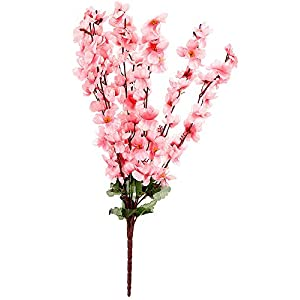 Fourwalls Artificial Peach Blossom Flower Bunch (60 cm tall 9 Branches, Red)