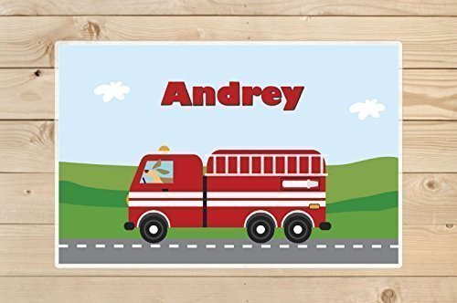 Fire truck placemat - Personalized Kids Placemat